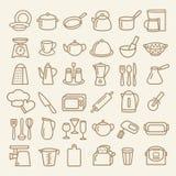 Σύνολο εικονιδίων γραμμών σκευών για την κουζίνα Στοκ φωτογραφία με δικαίωμα ελεύθερης χρήσης