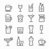 Σύνολο εικονιδίων γραμμών συμβόλων ποτών Στοκ Εικόνες