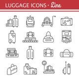 Σύνολο εικονιδίων γραμμών τσαντών εικόνες αποσκευών Στοκ Εικόνες