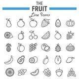 Σύνολο εικονιδίων γραμμών φρούτων, συλλογή συμβόλων τροφίμων απεικόνιση αποθεμάτων