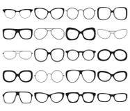 Σύνολο εικονιδίων γυαλιών ηλίου Διαφορετικές πλαίσια θεαμάτων και μορφές Στοκ Εικόνα
