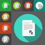 Σύνολο εικονιδίων εγγράφου συνταγών με το σημάδι Rx Σημάδι Rx ως σύμβολο συνταγών Επίπεδα εικονίδια ύφους Έγγραφα συνταγών Διανυσματική απεικόνιση