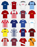 Σύνολο εικονιδίων εξάρτησης ποδοσφαίρου ή προτύπου του Τζέρσεϋ ποδοσφαίρου για τη λέσχη ποδοσφαίρου διάνυσμα απεικόνιση αποθεμάτων