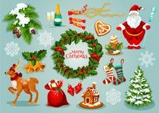 Σύνολο εικονιδίων εορτασμού διακοπών ημέρας των Χριστουγέννων διανυσματική απεικόνιση