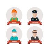 Σύνολο εικονιδίων επαγγελμάτων ανθρώπων Επίπεδο σχέδιο Στοκ Φωτογραφίες