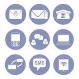 Σύνολο εικονιδίων επιχειρησιακών επικοινωνιών, συλλογή για την παρουσίαση σχεδίου μέσα Στοκ Εικόνες