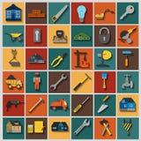 Σύνολο εικονιδίων εργαλείων επισκευής σπιτιών ελεύθερη απεικόνιση δικαιώματος