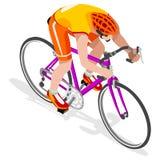 Σύνολο εικονιδίων θερινών αγώνων αθλητών Bicyclist οδικών ποδηλατών Έννοια ταχύτητας οδικής ανακύκλωσης τρισδιάστατος Isometric α Στοκ Εικόνες
