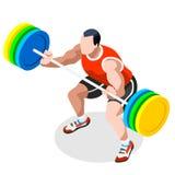 Σύνολο εικονιδίων θερινών αγώνων Weightlifting τρισδιάστατος Isometric αθλητής Weightlifter Αθλητικός διεθνής ανταγωνισμός πρωταθ διανυσματική απεικόνιση