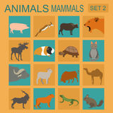 Σύνολο εικονιδίων θηλαστικών ζώων Διανυσματικό επίπεδο ύφος Στοκ φωτογραφία με δικαίωμα ελεύθερης χρήσης