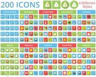 Σύνολο 200 εικονιδίων 4 διαφορετικές μορφές διανυσματική απεικόνιση