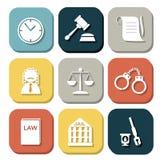 Σύνολο εικονιδίων δικαστών νόμου, σημάδι δικαιοσύνης Στοκ Φωτογραφία