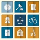 Σύνολο εικονιδίων δικαστών νόμου, σημάδι δικαιοσύνης Στοκ Εικόνες