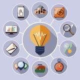 Σύνολο εικονιδίων διοίκησης επιχειρήσεων και analytics στοιχείων διανυσματική απεικόνιση