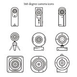 Σύνολο εικονιδίων καμερών 360 βαθμών στο λεπτό σχέδιο γραμμών στοκ εικόνες