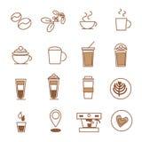 Σύνολο εικονιδίων καφέ, καφετερία φασολιών καφέ στοκ φωτογραφίες