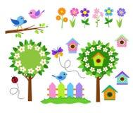 σύνολο εικονιδίων κηπο&upsi Κήπος λουλουδιών άνοιξη Στοκ Φωτογραφίες