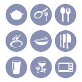 Σύνολο εικονιδίων κουζινών, εργαλεία για την παρουσίαση σχεδίου Ιστού μέσα Στοκ φωτογραφία με δικαίωμα ελεύθερης χρήσης