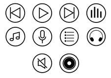 Σύνολο εικονιδίων κουμπιού μέσων φορέων - διανυσματικό εικονικό σχέδιο Στοκ εικόνα με δικαίωμα ελεύθερης χρήσης