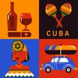 Σύνολο εικονιδίων Κούβας Αβάνα διανυσματική απεικόνιση