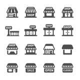 Σύνολο εικονιδίων κτηρίου καταστημάτων, διανυσματικό eps10 ελεύθερη απεικόνιση δικαιώματος