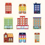 Σύνολο εικονιδίων κτηρίων πόλεων και κωμοπόλεων Στοκ Εικόνες