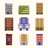 Σύνολο εικονιδίων κτηρίων πόλεων και κωμοπόλεων Στοκ Φωτογραφία