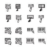 Σύνολο εικονιδίων κώδικα χεριών και ζουμ QR Στοκ φωτογραφίες με δικαίωμα ελεύθερης χρήσης