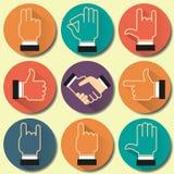Σύνολο εικονιδίων με τις διάφορες χειρονομίες χεριών Στοκ εικόνα με δικαίωμα ελεύθερης χρήσης