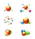 Σύνολο εικονιδίων μορίων Στοκ Φωτογραφία