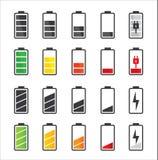 Σύνολο εικονιδίων μπαταριών Στοκ φωτογραφίες με δικαίωμα ελεύθερης χρήσης