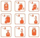 Σύνολο εικονιδίων μπουκαλιών σομπών και αερίου στρατοπέδευσης Στοκ εικόνα με δικαίωμα ελεύθερης χρήσης