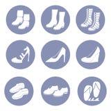 Σύνολο εικονιδίων μόδας παπουτσιών ομορφιάς, συλλογή για την παρουσίαση σχεδίου μέσα Στοκ Εικόνα