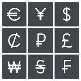 Σύνολο εικονιδίων νομίσματος Στοκ Φωτογραφίες