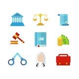 Σύνολο εικονιδίων νόμου δικαστηρίων Στοκ φωτογραφίες με δικαίωμα ελεύθερης χρήσης