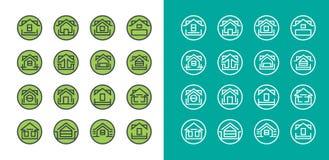 Σύνολο εικονιδίων λογότυπων ιδιοκτησίας οικοδόμησης Στοκ Φωτογραφίες