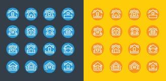 Σύνολο εικονιδίων λογότυπων ιδιοκτησίας οικοδόμησης Στοκ Εικόνες