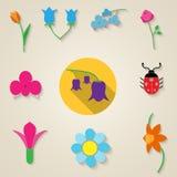 Σύνολο εικονιδίων λουλουδιών ελεύθερη απεικόνιση δικαιώματος