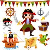 Σύνολο εικονιδίων πειρατών Πειρατής, παπαγάλος, σκάφος, saber, τιμόνι, στήθος θησαυρών, άγκυρα, ευχάριστα Roger απεικόνιση αποθεμάτων