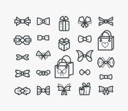 Σύνολο εικονιδίων περιλήψεων γραμμών με τα τόξα και τα δώρα Στοκ Εικόνες