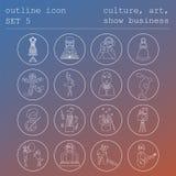 Σύνολο εικονιδίων περιλήψεων επαγγελμάτων και επαγγελμάτων Ο πολιτισμός, τέχνη, παρουσιάζει Στοκ εικόνες με δικαίωμα ελεύθερης χρήσης