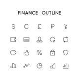 Σύνολο εικονιδίων περιλήψεων χρηματοδότησης διανυσματική απεικόνιση