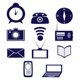 Σύνολο εικονιδίων που αποτελείται από τα στοιχεία της επικοινωνίας και της ενημέρωσης Στοκ Εικόνα