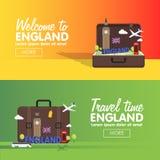 Σύνολο εικονιδίων προορισμών ταξιδιού του Λονδίνου, Αγγλία, γραφικά στοιχεία πληροφοριών για το ταξίδι στην Αγγλία Ελεύθερη απεικόνιση δικαιώματος
