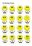 16 σύνολο εικονιδίων προσώπου Smiley Στοκ φωτογραφία με δικαίωμα ελεύθερης χρήσης