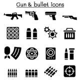 Σύνολο εικονιδίων πυροβόλων όπλων & σφαιρών Στοκ Εικόνα