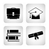 Σύνολο εικονιδίων σε ένα θέμα της εκπαίδευσης Στοκ εικόνες με δικαίωμα ελεύθερης χρήσης