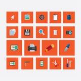Σύνολο εικονιδίων σε ένα πορτοκάλι σχεδίου θέματος Ελεύθερη απεικόνιση δικαιώματος