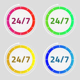 24/7 σύνολο εικονιδίων Σημάδι βελών ρολογιών Κόκκινος, πράσινος, μπλε, κίτρινος Απεικόνιση αποθεμάτων