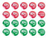 Σύνολο εικονιδίων σημαδιών έκπτωσης τοις εκατό, σύμβολο πώλησης, διάνυσμα πωλήσεων Στοκ Εικόνες